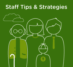 """""""Staff Tips and Strategies"""" and a drawing of a family in green"""